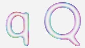 Majuscule et minuscule vibrant colorée q rendue utilisant une bulle Images libres de droits