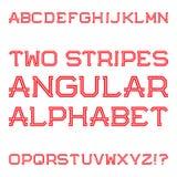 Majuscules angulaires rouges de deux rayures Rétro police de mode Photographie stock libre de droits