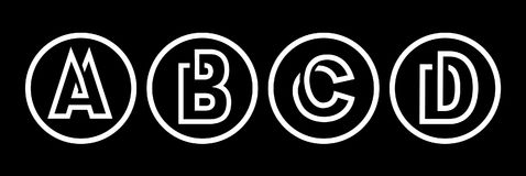 Majuscules A, B, C, D De la rayure blanche en cercle noir Recouvrement avec des ombres Le logo, monogramme, symbolisent à la mode Photo libre de droits