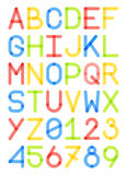 Majuscules d'oeil d'un caractère anglais en police et style moderne de nombres Image stock