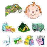 Maka- och frustående Familjferiesymbol i uppsättningsamling på symbol för tecknad filmstilvektor royaltyfri illustrationer