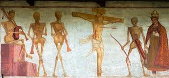 Makaber dans för freskomålning - Pinzolo Trento Italien arkivbilder