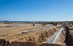 Makadi bay, Egypt - January 14, 2016: Construction work for the laying of pipes, Hurghada, Egypt stock images