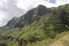 Makaha Valley Mountains 3. Landscape view of Makaha Valley mountains (pali) on Oahu, Hawaii Royalty Free Stock Photography