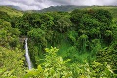 Makahiku falls in Waimoku falls trail. Makahiku falls view in Waimoku falls trail, Maui island, Hawaii stock image