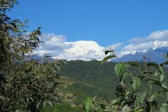 Makalu berg i himalayasna, gräns av Nepal och Kina arkivbild