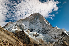 Makalu the Fith Highest Mountain in the World. The formidable West Face of Makalu, the fith highest mountain in the world from Peak 6130 Royalty Free Stock Images