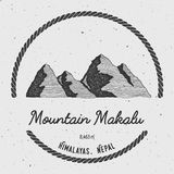 Makalu in Himalayas, Nepal outdoor adventure logo. Round trekking vector insignia. Climbing, trekking, hiking, mountaineering and other extreme activities logo royalty free illustration