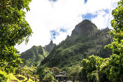 Makana Mountain view from Limahuli Valley, Hawaii Royalty Free Stock Photography