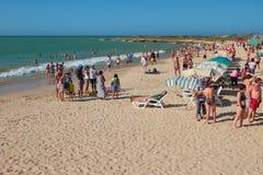 Makanao, остров Маргариты, Венесуэлы - 8-ое января 2015: На аренах Playa Punta арен Punta пляжа стоковые фото