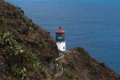 Makapu& x27; 在奥阿胡岛,夏威夷SE海岸的u灯塔  库存图片