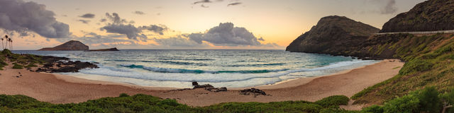Makapu& x27;u Beach Park Landscape. And seascape panorama at sunrise in the early colorful morning Stock Image