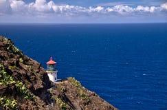 Makapuu在奥阿胡岛,夏威夷的点灯塔全景  免版税库存照片