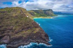 Makapuu灯塔和供徒步旅行的小道奥阿胡岛,夏威夷 免版税库存图片