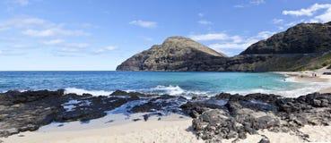 Makapuu Beach Hawaii. A panorama of Makapuu Beach in Hawaii stock photo