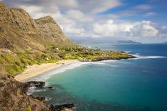 Makapuu Beach Park Scenic Lookout. View of Makapuu Beach Park from the scenic lookout view point in Oahu, Hawaii, USA stock photos