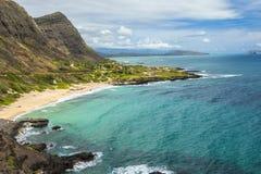 Makapuu Beach. View of Makapuu Beach and the Koolau Mountains looking towards Waimanalo Bay on Oahu, Hawaii Stock Photo
