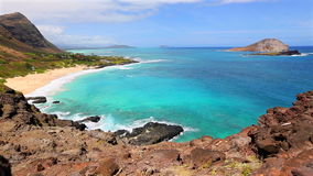 Makapuu Lookout Oahu, Hawaii. Beautiful panoramic view of Makapuu Beach, Oahu, Hawaii stock video