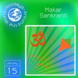 Makar Sankranti E r Muestra de OM, cometa, fondo con los rayos Calendario holidays libre illustration