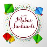 Makar sankranti greeting card with round paper and colorful kite royalty free illustration