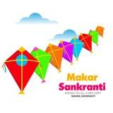 Makar Sankranti tapet med den färgrika draken för festival av Indien stock illustrationer