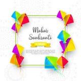 Makar Sankranti wakacyjny projekt z kaniami fotografia stock