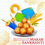 Makar Sankranti wallpaper with colorful kite for festival of India. Illustration of Makar Sankranti wallpaper with colorful kite for festival of India Stock Photo