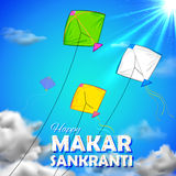 Makar Sankranti wallpaper with colorful kite for festival of India Stock Photography