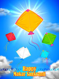 Makar Sankranti wallpaper with colorful kite for festival of India Stock Photos