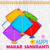 Makar Sankranti wallpaper with colorful kite Stock Images