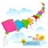 Makar Sankranti wallpaper with colorful kite Stock Photography