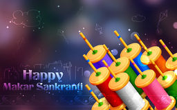 Makar Sankranti wallpaper with colorful kite string spool Stock Photos