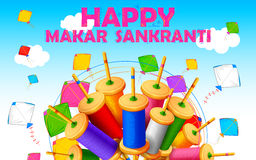 Makar Sankranti wallpaper with colorful kite string spool Royalty Free Stock Photo