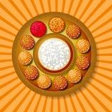 Makar Sankranti Zimy Solstice żniwa festiwal Tradycyjny naczynie - słodki sezam, tło z promieniami od centrum ilustracji