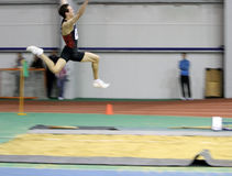 Makarchev Andriy wins second place the long jump Royalty Free Stock Photos