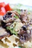makaron brokułu makro wegetarianin pieczarkowy Obrazy Royalty Free