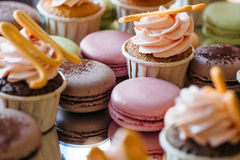 Makaron de los pasteles franceses Foco selectivo Fotografía de archivo
