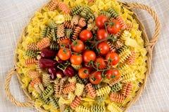 Makaron i pomidor Zdjęcia Stock