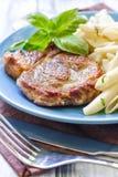 Makaron i stek Zdjęcie Royalty Free