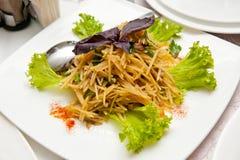 Makaron z basilem z sałatą, pomidorem i mięsem, obrazy stock