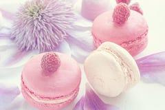 Makaron z malinkami, marshmallows na tle piękni kwiaty clematis Deserowy zakończenie Selekcyjna ostrość Obrazy Royalty Free