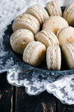 Makarons vanilla with vanilia cream Stock Photography