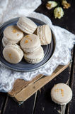 Makarons vanilla with vanilia cream Royalty Free Stock Photo