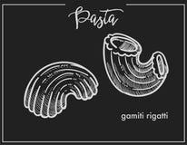Makaronu Gamiti Rigatti kredy nakreślenie dla Włoskiego kuchnia menu lub pakować projekta na czarnym tle Obraz Stock
