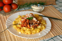 Makaronu italiana z kumberlandem i parmesan serem mięsnym i pomidorowym Obraz Royalty Free