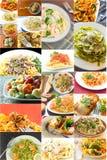Makaronu jedzenia kolaż fotografia stock