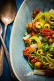 Makaronu pomidorowy kumberland bryka szparagowego magii światło Zdjęcie Stock