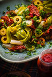 Makaronu pomidorowy kumberland bryka szparagowego magii światło Fotografia Stock
