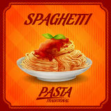 Makaronu rocznika tradycyjny spaghetti Ilustracja Wektor