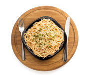 Makaronu spaghetti na białym tle Obraz Stock